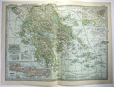 Original 1902 Map of Greece, Crete & Samos - A Nicely Detailed Color Lithograph
