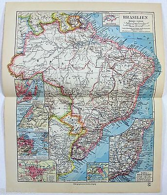 Original 1928 German Map of Brazil by Meyers