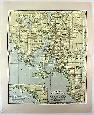 Original 1914 Map of South Australia by L. L. Poates
