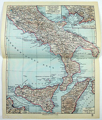 Original 1928 German Map of Southern Italy