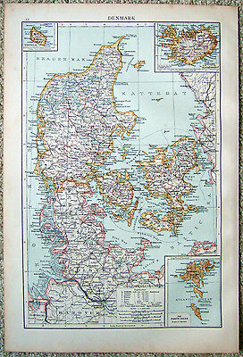 Original 1896 Map of Denmark by Velhagen & Klasing