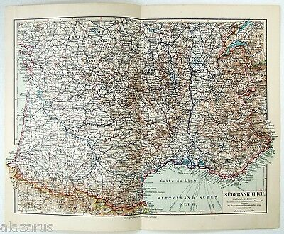 Original 1924 German Map of Southern France