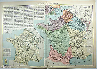 Original 1884 Map of The French Canal & Railroad System by Drioux & Leroy, Paris