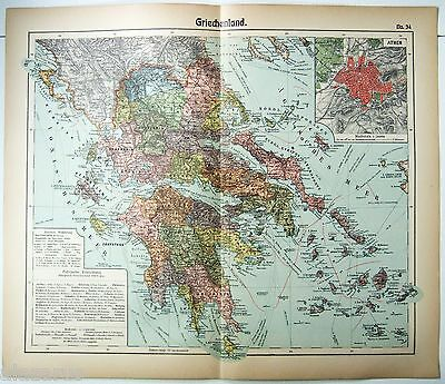 Original German Map of Greece by Otto Herkt c1912