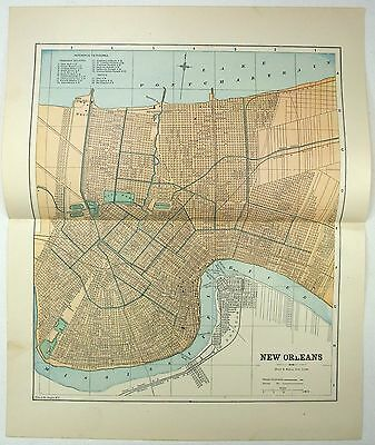 Original 1891 Street & Railroad Map / Plan of New Orleans, LA by Hunt & Eaton
