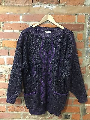 VINTAGE 1980's LONG-LINE JUMPER PURPLE & BLACK AZTEC (VJ65) SIZE 16 / OVERSIZED