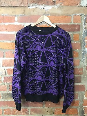 VINTAGE 80s BLACK & PURPLE CRAZY PATTERN JUMPER (VJ70) SIZE 14 16 / OVERSIZED