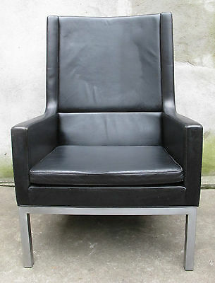 KNOLL STYLE MID CENTURY HIGH BACK LEATHER LOUNGE CHAIR (2 AVAIL) borge mogensen