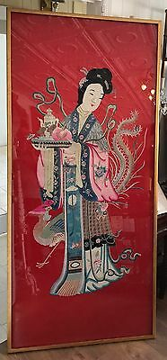Large Framed Vintage ASIAN JAPANESE/Chinese  SILK EMBROIDERY Lady MAGU figure