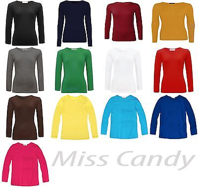 Girl Long Sleeve Plain Top Kids Dance School Tops T-Shirt Tee New Age 2-13 Years