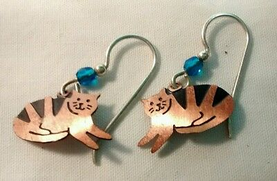 Vintage etched copper tabby cats dangle earrings with aqua beads
