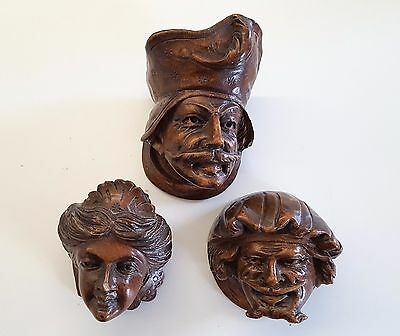 3 ANTIQUE FRENCH CARVED WOOD FURNITURE DECOR Face neo gothic salvaged sculpture