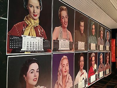 ~1953 Timkin Calendar Girls! Wholesome! 12 Very Good to Near Mint Large Sheets!