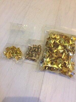Selection Of Craft Gold Studs - Screw Conical Shape And Small And Large Pyramid