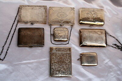 8Pcs Victorian Sterling Silver Boxes 'purses, Card Holder, Match Strikers'