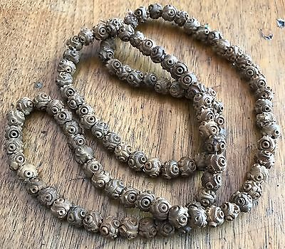 Antique Chinese HEDAIO? Carved Seed Pit Nut Prayer 105 Bead Necklace
