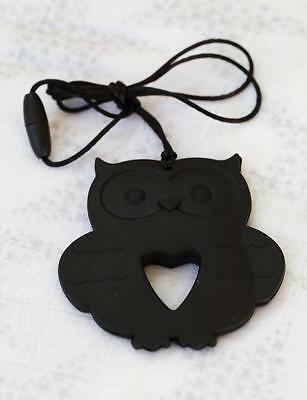 Baby Silicone Teething Necklace Nursing Jewelry Black OWL Teether for Mom