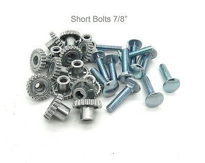 """Pet Carrier Crate Kennel Zinc Metal Fasteners Nuts & Bolts 7/8""""  (16 SHORT PACK)"""