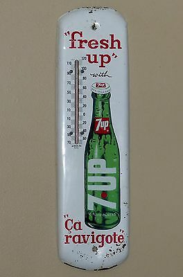 Nice 1970 Canadian 7up tin thermometer sign, seven-up FREE SHIPPING!