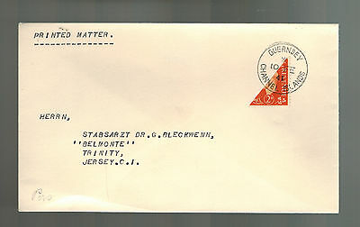 1941 Guernsey Channel Island England Occupation Cover BiSect Stamp to Jersey