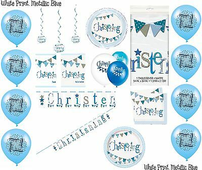 Boy Christening Blue Party Banners Balloons Bunting Napkins Decorations