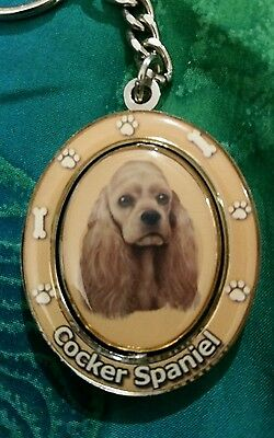 Cocker Spaniel dog - Collectible Spinning Keychain, E&S Imports - #KC-78, New!