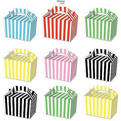 10 Party Boxes  - Stripe - Cardboard Lunch Food Loot Spot Treat Box - 6 Colours