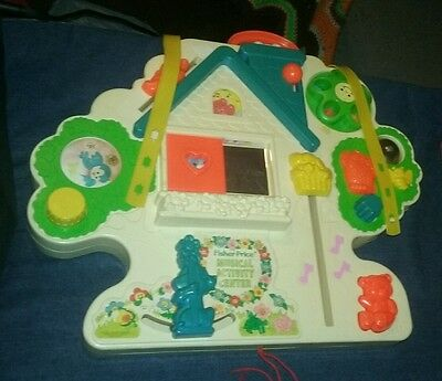 Vtg 1985 Fisher Price 1100 Musical Activity Center Baby Crib Toy Busy Box House