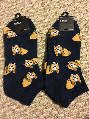 New!! Womens Ankle Socks Blue Pembroke Welsh Corgi LOT Of 2 PAIRS!!!! Forever 21