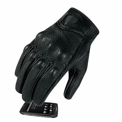 Mens Summer Leather Motorcycle Motorbike Gloves Perforated New Black Biker M-XL