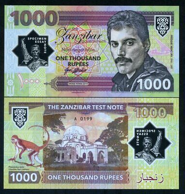 Zanzibar, 1000 Rupees, 2019 Essay Private Clear Window Polymer - Freddie Mercury