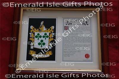MCMANUS Heraldic Framed Coat of Arms Crest and Family History