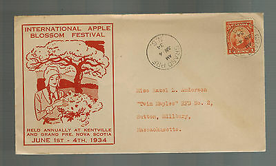 1934 Grand Prairie NS Canada cover to USA Apple Blossom Festival