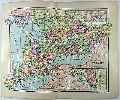Original 1903 Dated Map of Ontario by Dodd Mead & Company