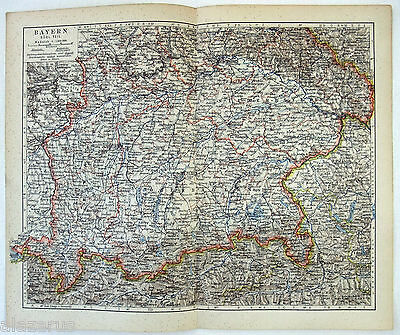 Original German Map of Southern Bavaria in 1900