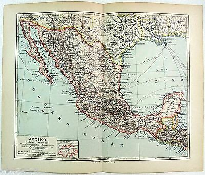 Original German Map of Mexico in 1900 by Meyers