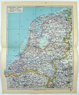 Original 1928 German Map of The Netherlands