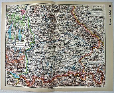 Original 1933 German Map of Southern Bavaria by Meyers