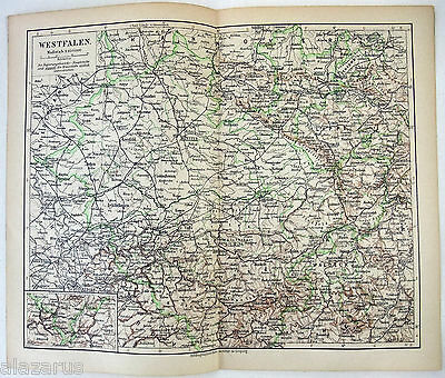Original German Language Map of Westphalia in 1900