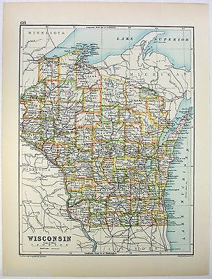 Original 1893 Map of Wisconsin b/w Washington by J. Bartholomew