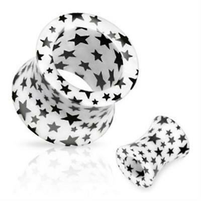 Flesh Tunnel Plug Stern Stars Double Flared Hollow aus Acryl Piercing Ohr UV