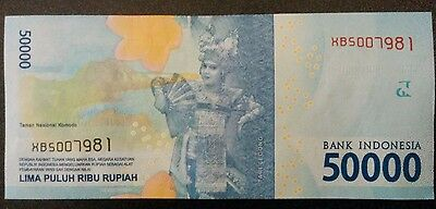 Indonesian Rupiah IDR 50,000   Authentic, uncirculated, 2016 edition   Newest e