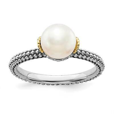 SS & 14K Gold Accent Freshwater Cultured White Pearl Stackable Ring Sz 5 - 10