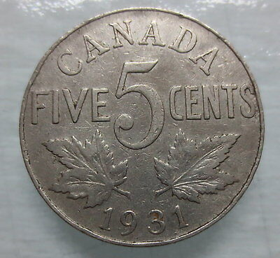 1931 Canada 5¢ King George V Nickel Coin