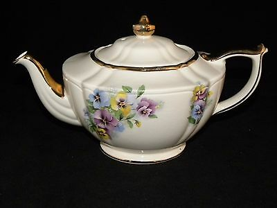 Vintage Sadler England Teapot Colorful Pansy Pansies Gold Trim