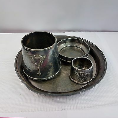 Early Arts And Crafts Hand wrought Hammered Silver Plate Van Bergh Smoking Set