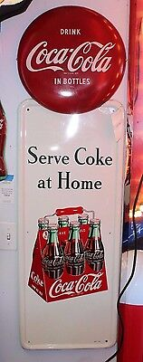 "Vintage COKE TIN VERTICAL Sign ""DRINK COCA-COLA IN BOTTLES"" Diner Collectible"