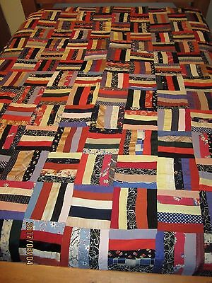 "ANTIQUE VINTAGE ""RAIL FENCE"" QUILT TOP, RAYON, SATIN, HAND STITCHED, 72 x 84"