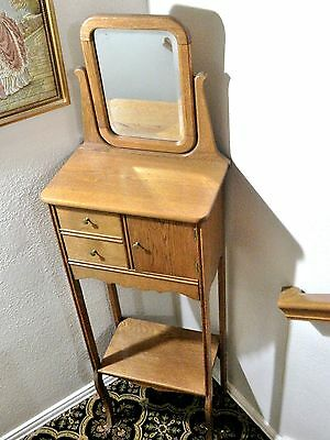 Antique  Oak Gentleman's Shaving Stand Dressing Table/ Beveled Mirror