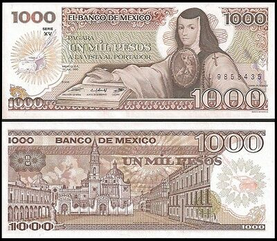 Mexico 1000 PESOS 1985 XV Signature 1 P 85 UNC OFFER !